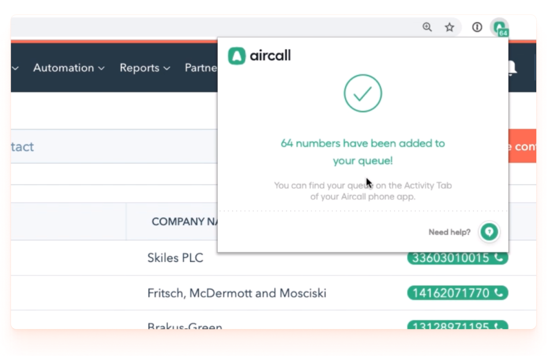 Aircall hubspot cloud-based phone system integration | aircall