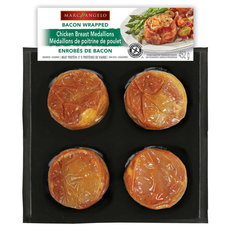 Bacon wrapped chicken medallion pkg