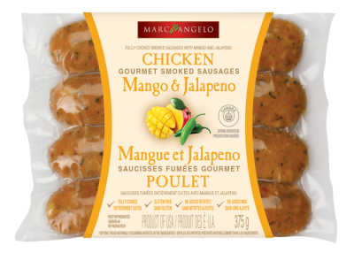 Chicken mango and jalapeno sausages packaging
