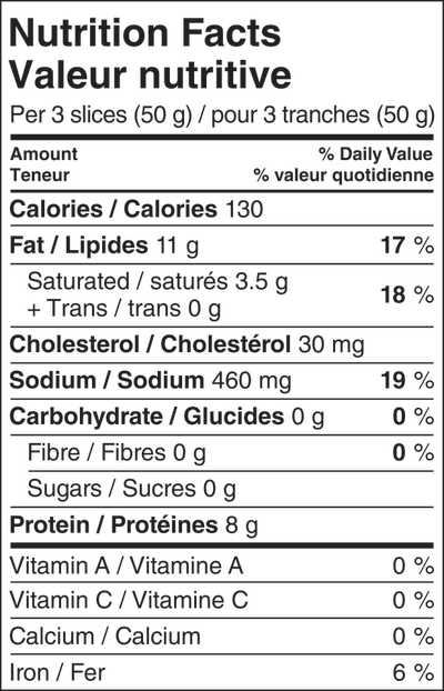 Screenshot of Mortadella nutritional infomration (50g)