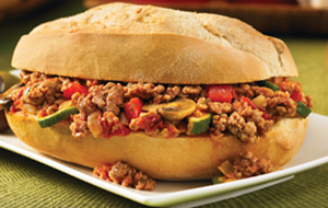 Photo of sloppy joes in a white bun
