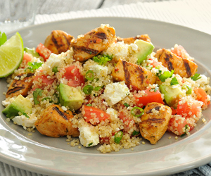 Mexican quinoa salad on a white place mat
