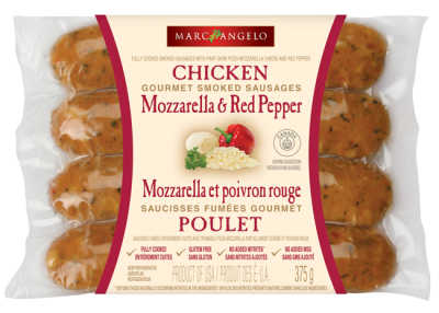 A picture of mozzarella and red pepper chicken sausage packaging