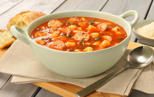Pasta Fagioli in a white bowl