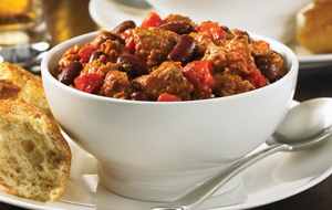 Bowl of sausage chili