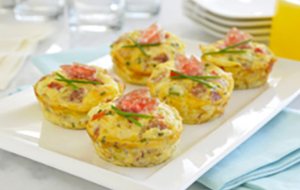 egg muffins with Genoa salami and fontina
