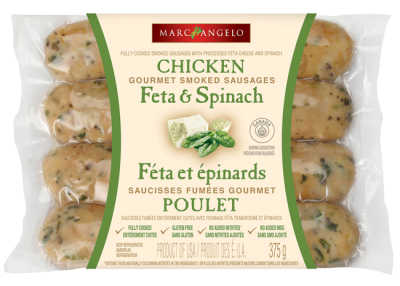 Marcangelo Feta and Spinach chicken sausages packaging