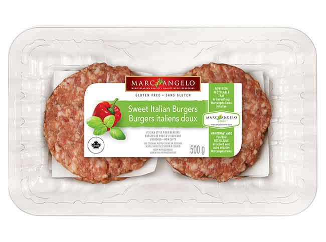 Sweet Italian pork burger patties in packaging