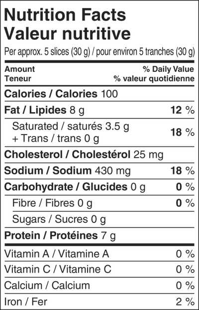 Screenshot of Genoa Salami nutritional information