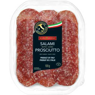 A photo of salami with prosciutto packaging