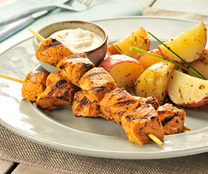 Garlic kabob with potatoes