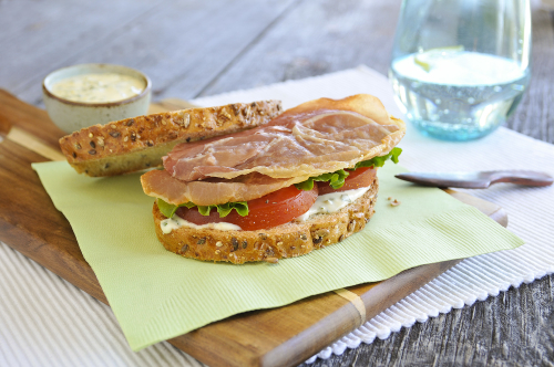 prosciutto sandwich with lettuce tomato and mayonnaise