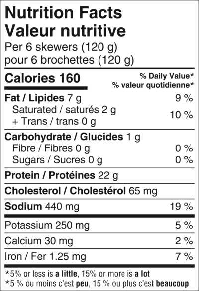 MA Spiedini 12 Chicken and Bacon Nutritional Information
