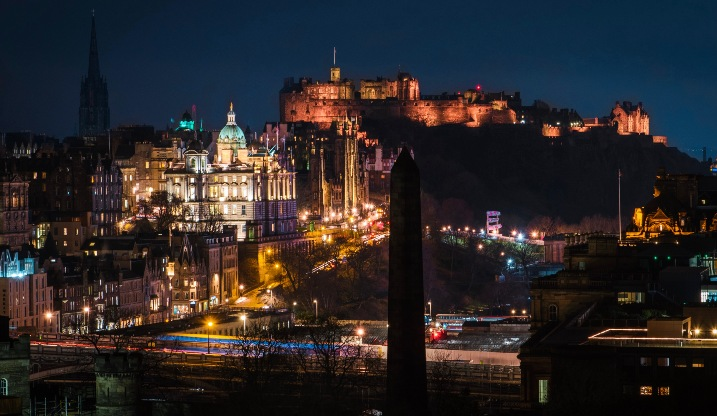 Photo of Edinburgh city and castle at night time