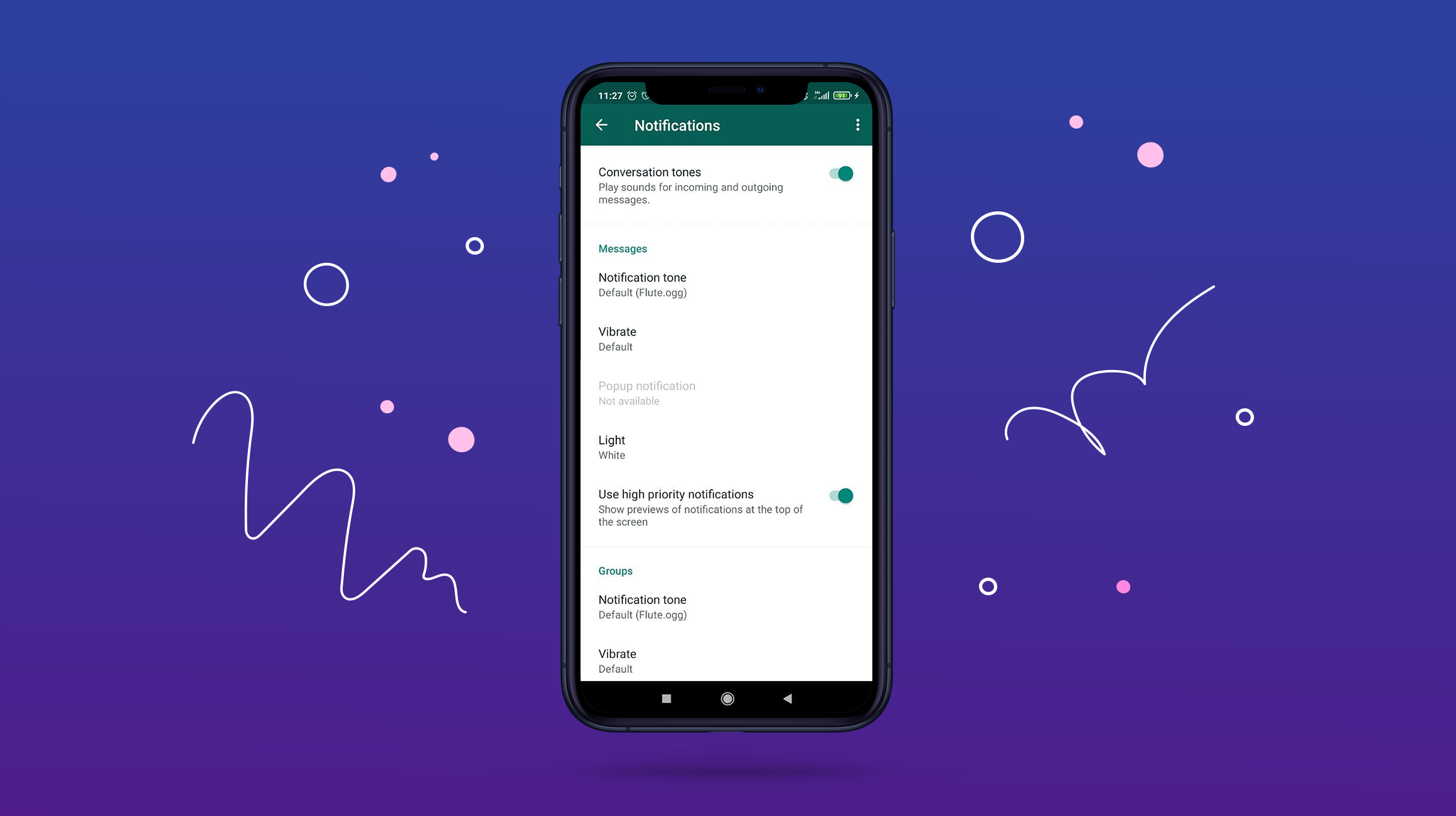 WhatsApp notifications settings