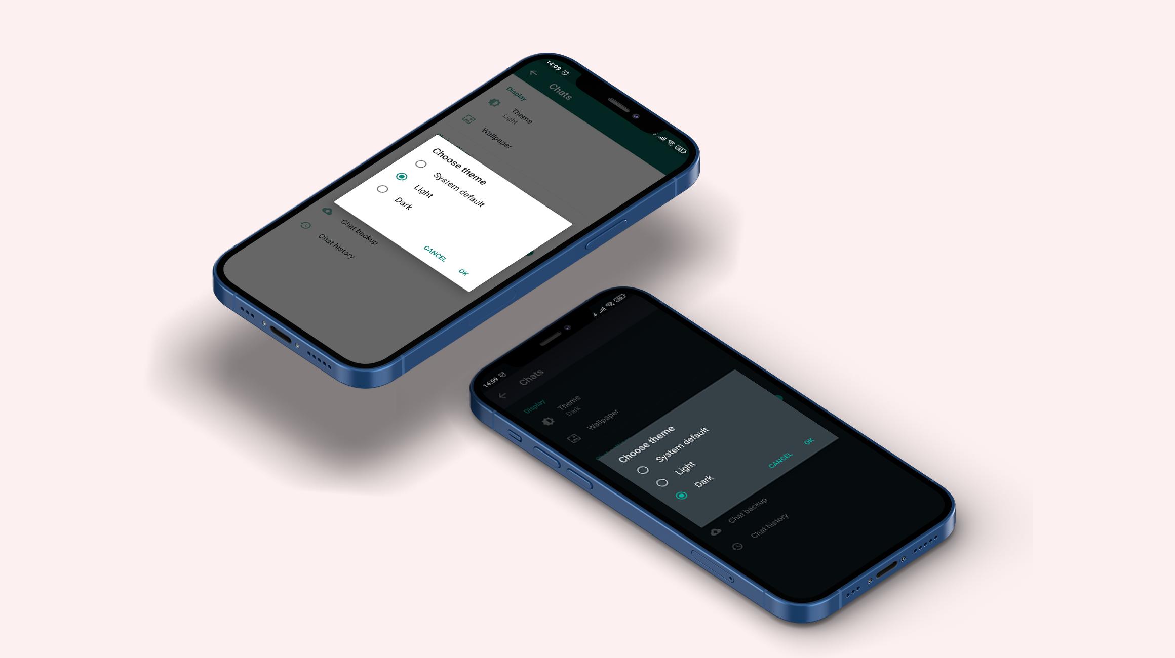 Chat app feature dark mode