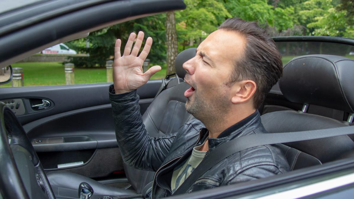 Gerard zingt in de auto