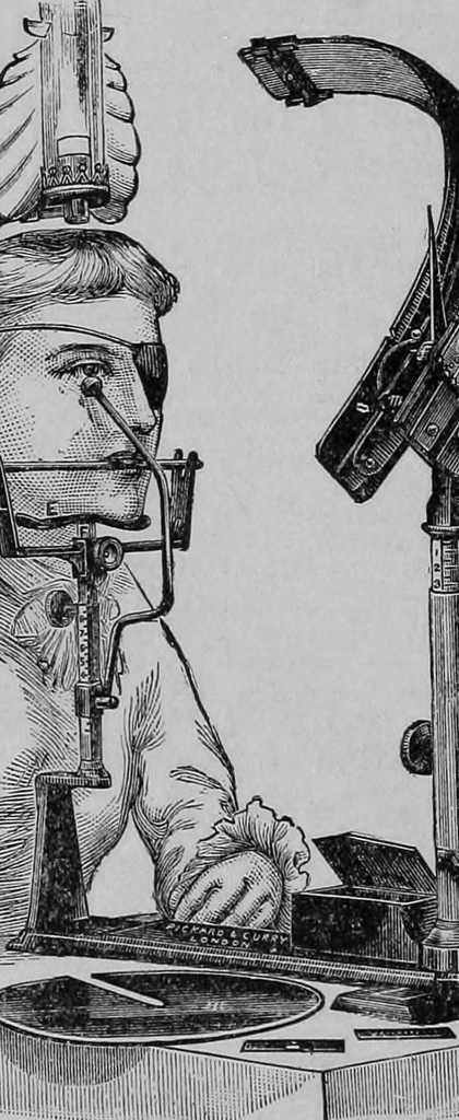 Illustration of the examination of eye and ear taken from medical textbook published in 1904