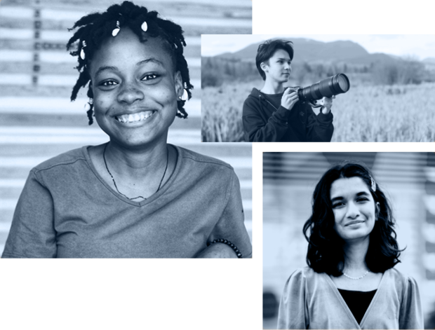 A collage of three images: a headshot of Blessing Jemimah Jones Akpan smiling at camera, an image of Adam Dhalla holding camera with nature in the background, and a headshot of Meera Dasgupta smiling at camera.
