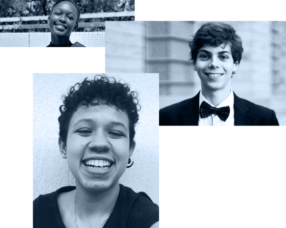 A collage of 3 images: headshots of Hawi Annette Odhiambo, Guilherme Ricci Coube, and Laura Ribeiro Fernandes do Rosário all smiling at the camera.