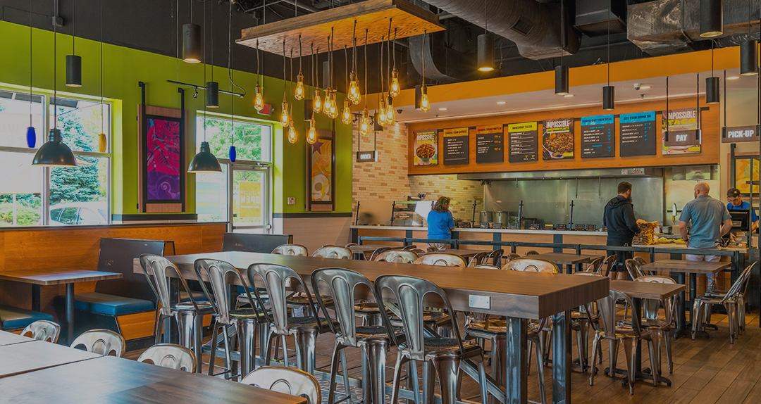 Interior of a new QDOBA restaurant.