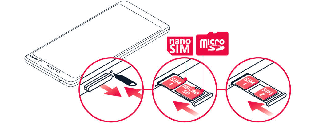 Insert or remove SIM and memory card