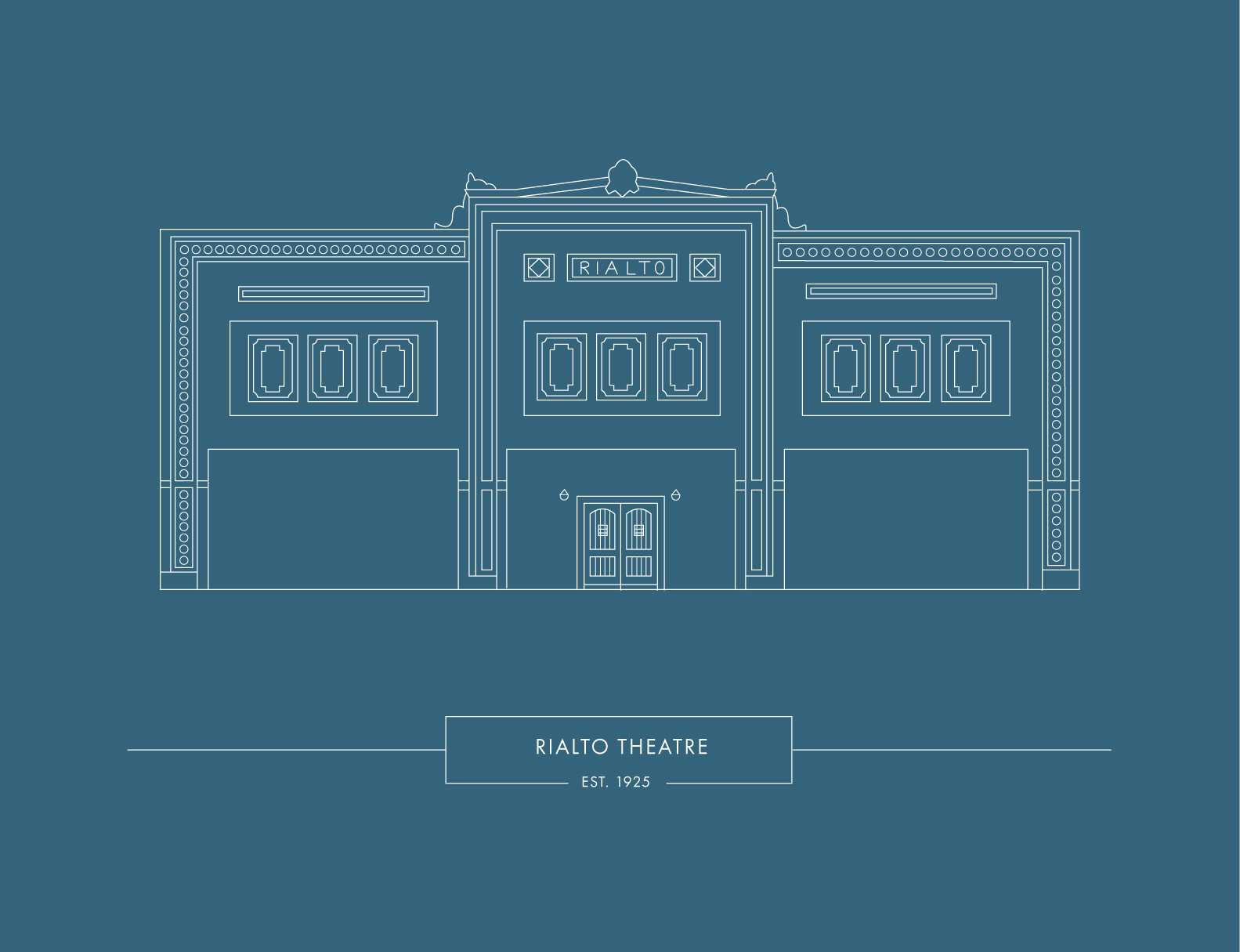 Line drawing of the historic Rialto Theatre
