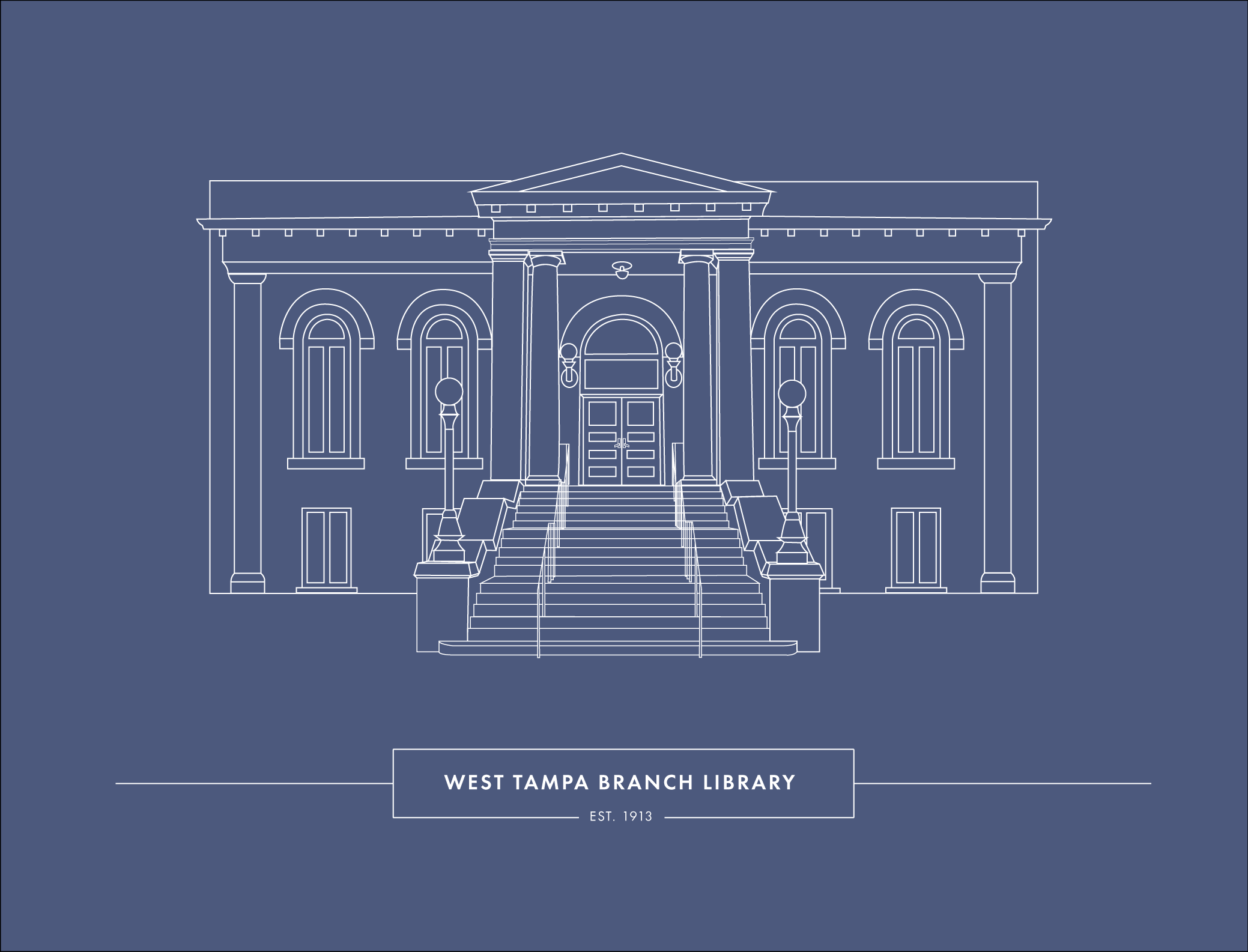 Line drawing of the historic West Tampa library