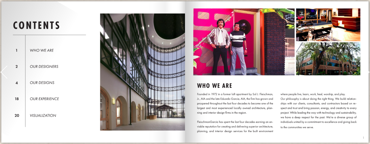 Content and who we are pages of an interior design brochure.