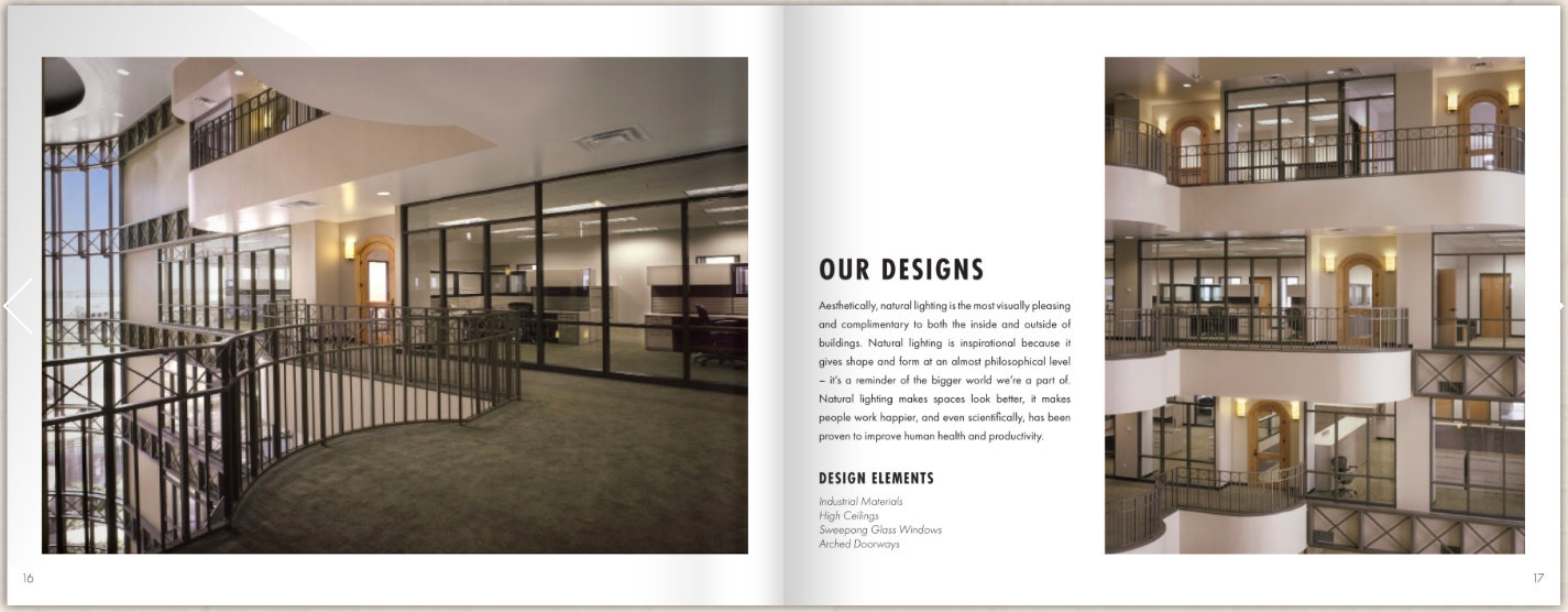 Spread of an interior design brochure.