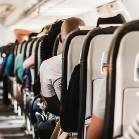 Photo of backs of seats on a plane