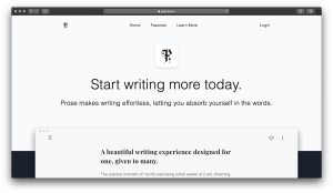 Prose - Start writing more today - Landing Page