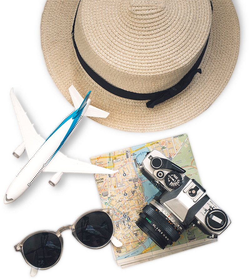 Picture of straw hat, model plane, camera, map and sunglasses