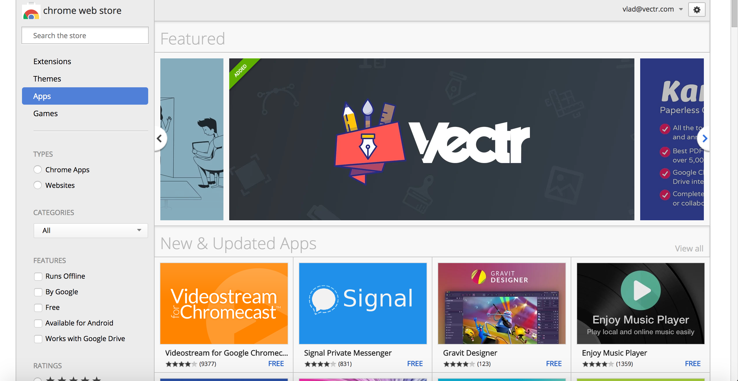 chrome web store vectr