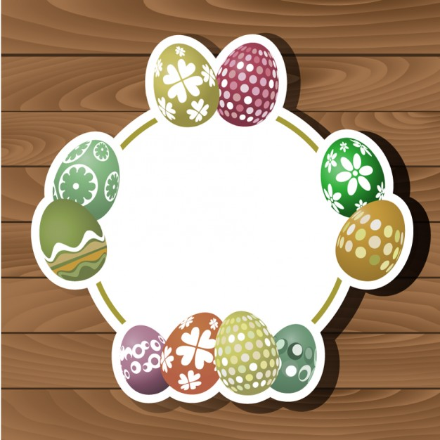 Easter Decorations On Wood Background