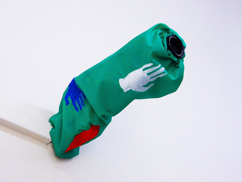 Camera (cover), fabric, embroidery, camera, 30x12x6cm, Museum of Moving Practice, 019, Ghent (BE), Summer 2017