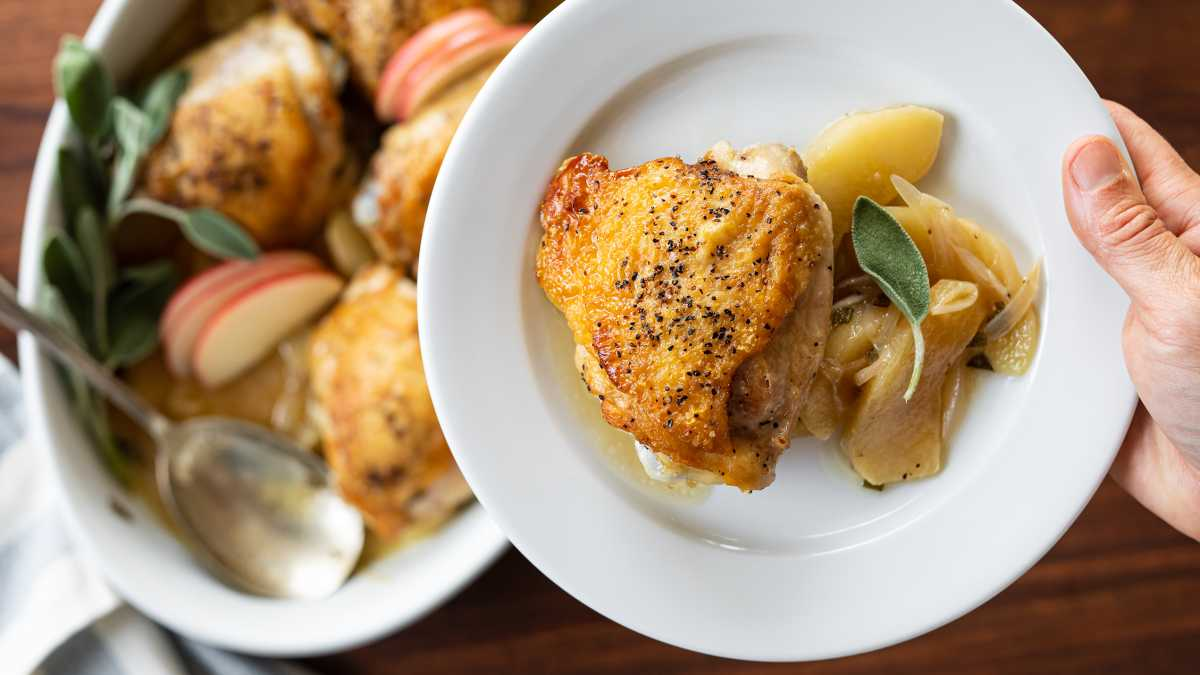 Braised Chicken with Apples and Sage