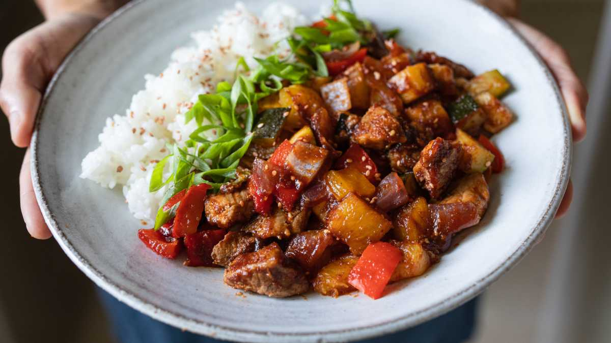 Hawaiian BBQ Pork Sheet Pan Meal