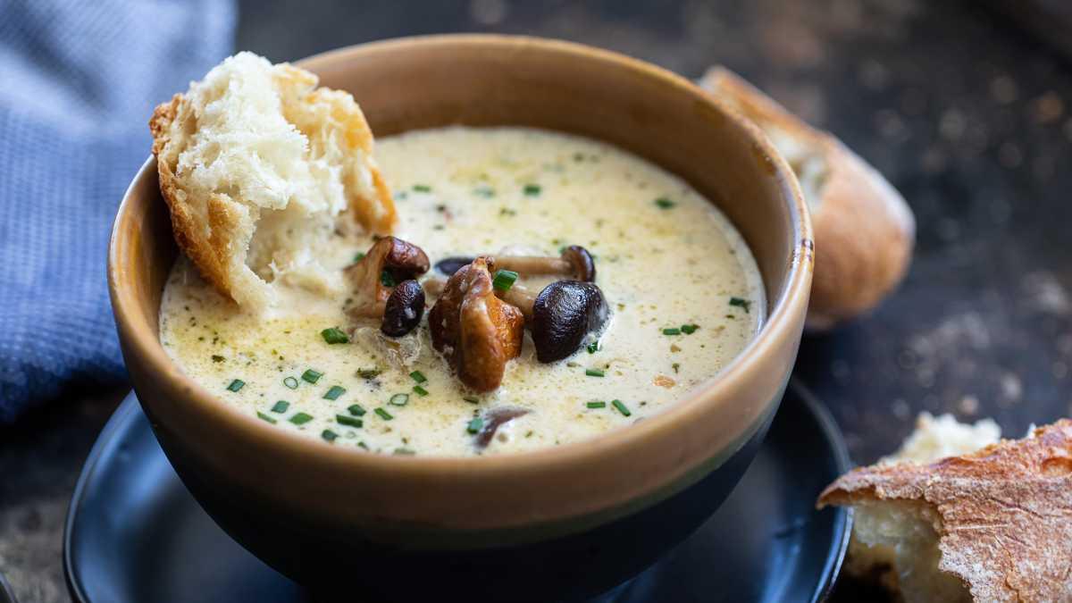 Wild Mushroom and Smoked Gouda Soup