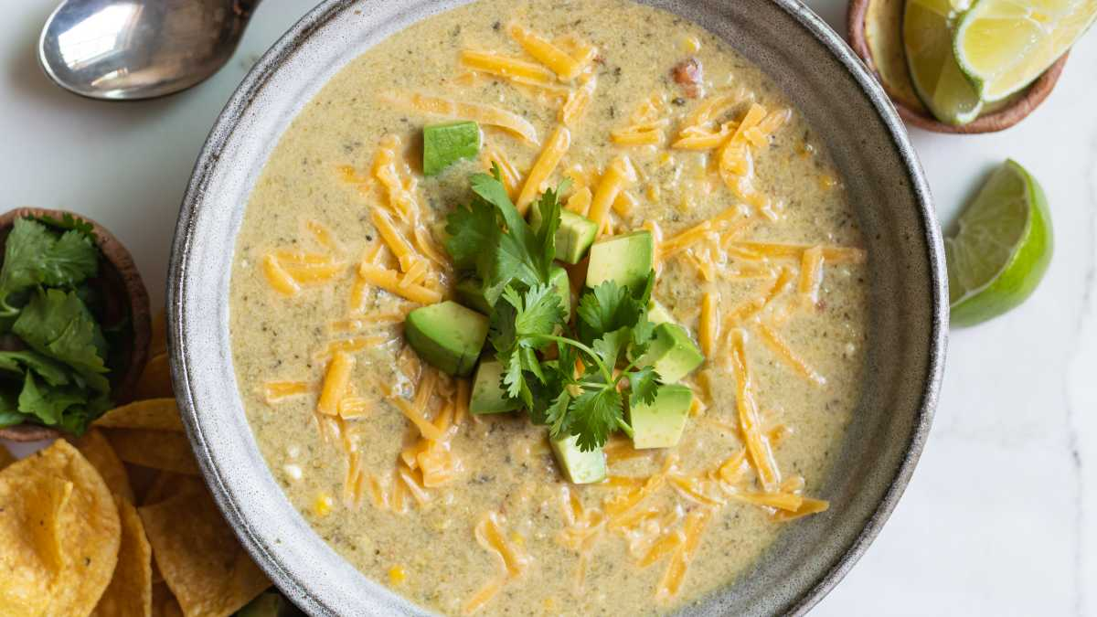 Roasted Poblano and Corn Soup