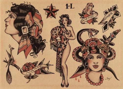 planche de tattoo de Saylor Jerry avec des femmes pinup