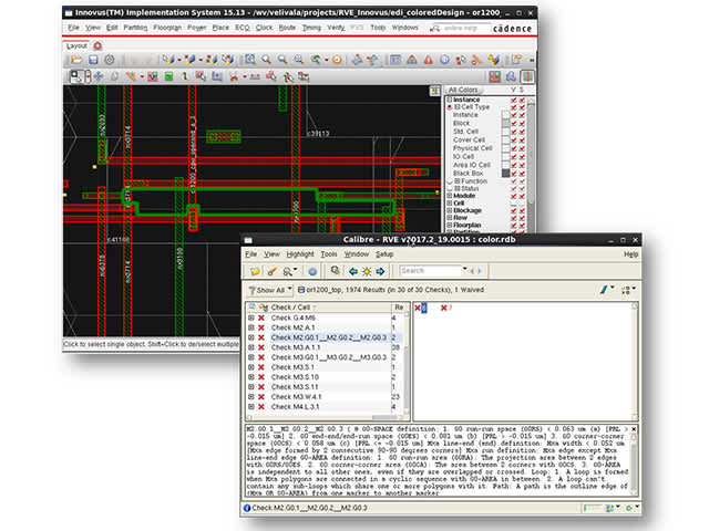 Calibre RVE interface screenshot showing error debug | Using the Calibre RVE results viewer minimizes training and support overhead, and provides a single, consistent interface across all your design tools.
