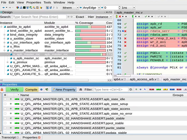 screenshot of PropCheck process | screenshot of Questa PropCheck activity | Questa PropCheck is used when the design is complete to debug blocks before integration, finding errors before simulation test environments are available.