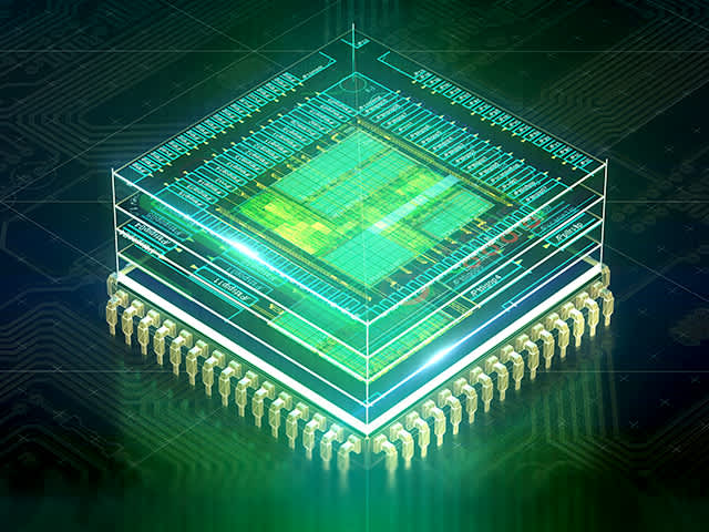 3D rendering of an IC chip | Calibre Pattern Matching technology supports advanced verification flows at all major foundries.