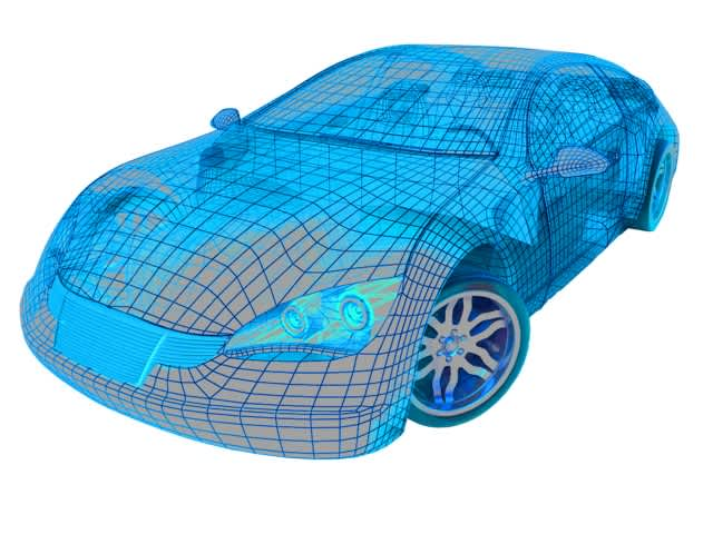Wireframe image of a car.