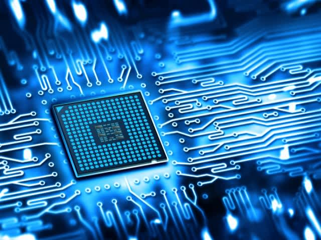 Abstract image of an IC on a board | Tessent IC test solutions