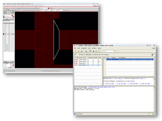 Calibre RVE interface screenshot of visual debug | Whether you have 10 or 1,000,000 errors, the Calibre RVE results viewer provides fast response time with minimal memory overhead.
