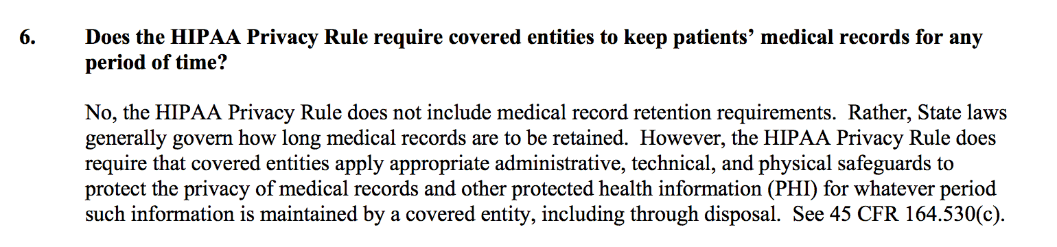 Point 6 of HIPAA retention rules