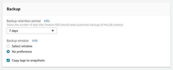 Configuring backup settings