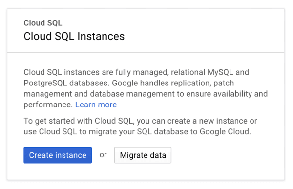 Creating a Cloud SQL instance